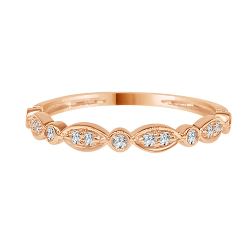 Rose Gold Diamond Scalloped And Round Fancy Band