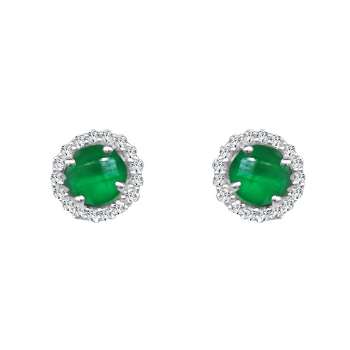 Lafonn Green Stone Halo Stud Earrings
