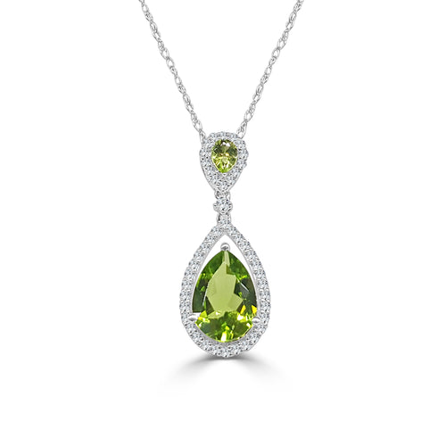 Double Pear-shaped Peridot Necklace With Diamond Halo