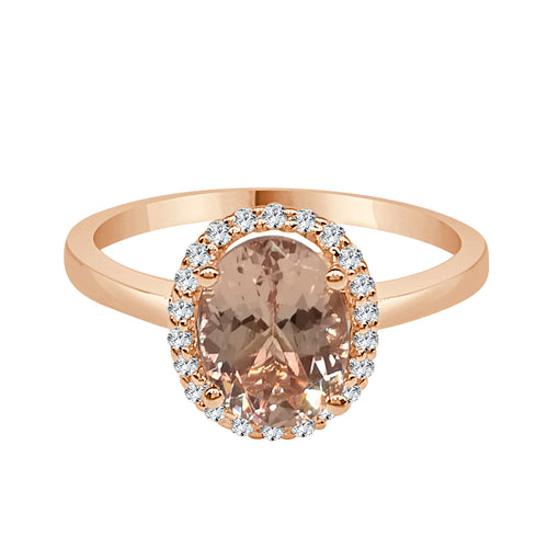 Morganite and Diamond Oval Polished Rose Gold Halo Ring