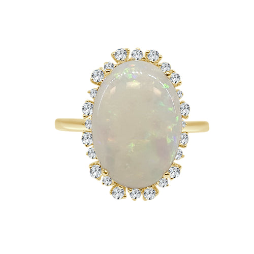 Oval 4 Carat Opal Ring With Fancy Diamond Halo