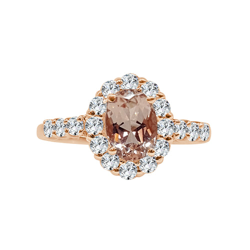 Oval Morganite Ring With Diamond Halo And Band