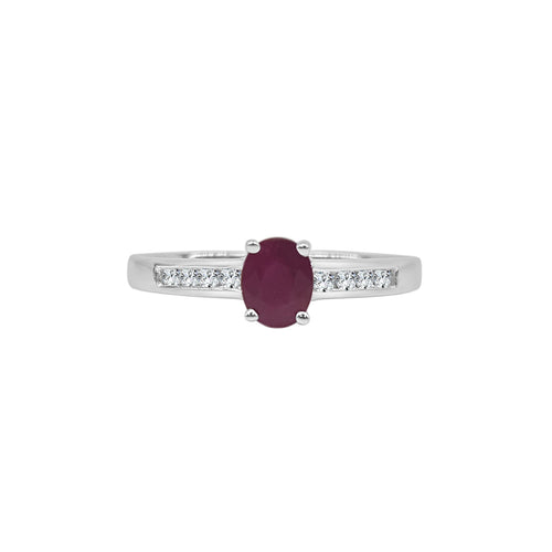 Oval Ruby Ring With Diamond Band