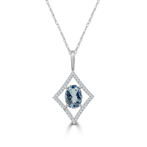 Oval Aquamarine With Open Diamond Necklace