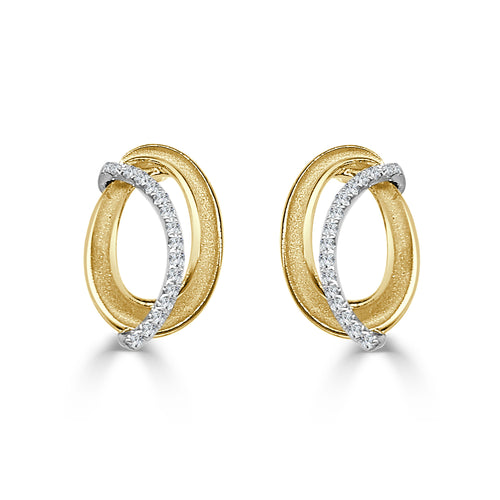 Oval Fancy Diamond Earrings In Two-tone