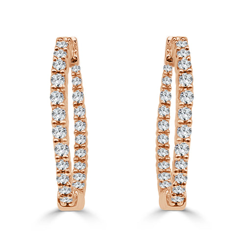 Rose Gold Diamond Inside Out Hoop Earrings