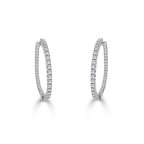 Inside-out One Carat Diamond Hoop Earrings