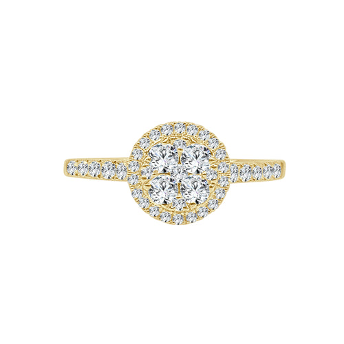 Half Carat Cluster Top Halo Ring In Yellow Gold