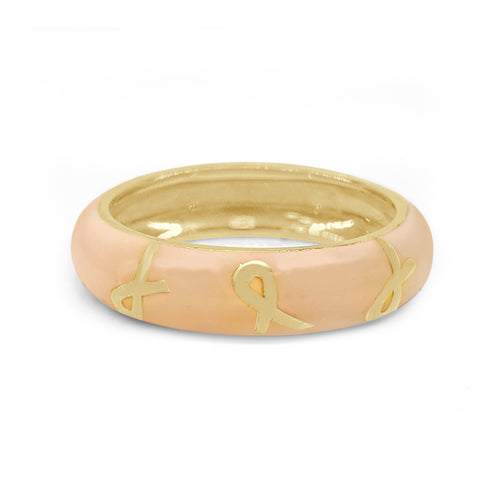 Hidalgo  18 Karat Breast Cancer Enamel Ring