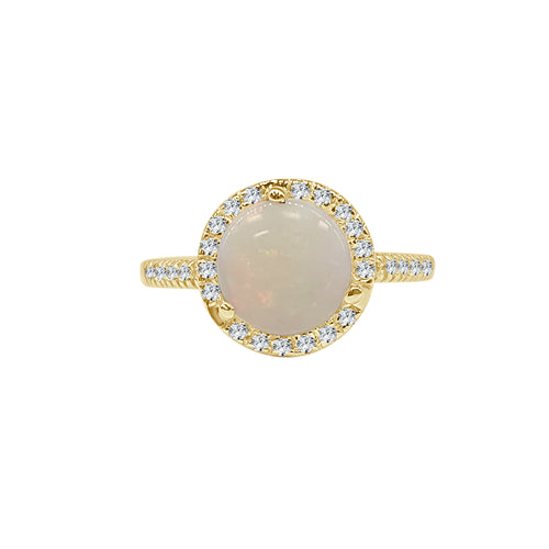 Round Opal Ring With Diamond Halo And Thin Diamond Band