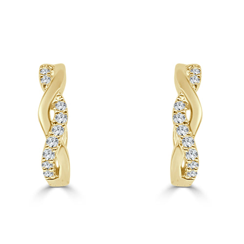 Diamond Twist Hoop Earrings In Yellow Gold