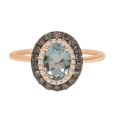 Oval Aquamarine Ring With Brown And White Diamond Halo