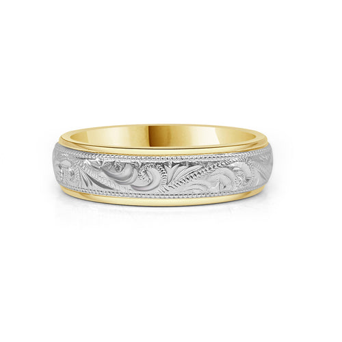 Two Tone Gold Carved Scroll Wedding Band