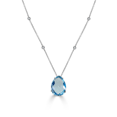 Pear Shaped Blue Topaz Necklace With Diamond Station Chain