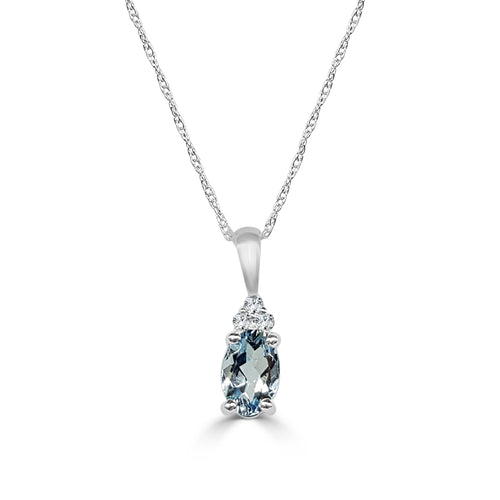 Oval Aquamarine And Diamond Necklace