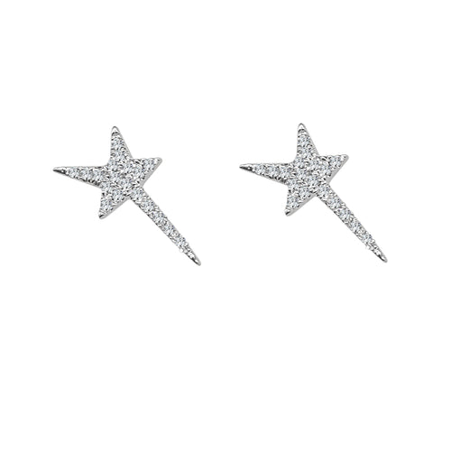 Shy Creations Shooting Star Diamond Stud Earrings