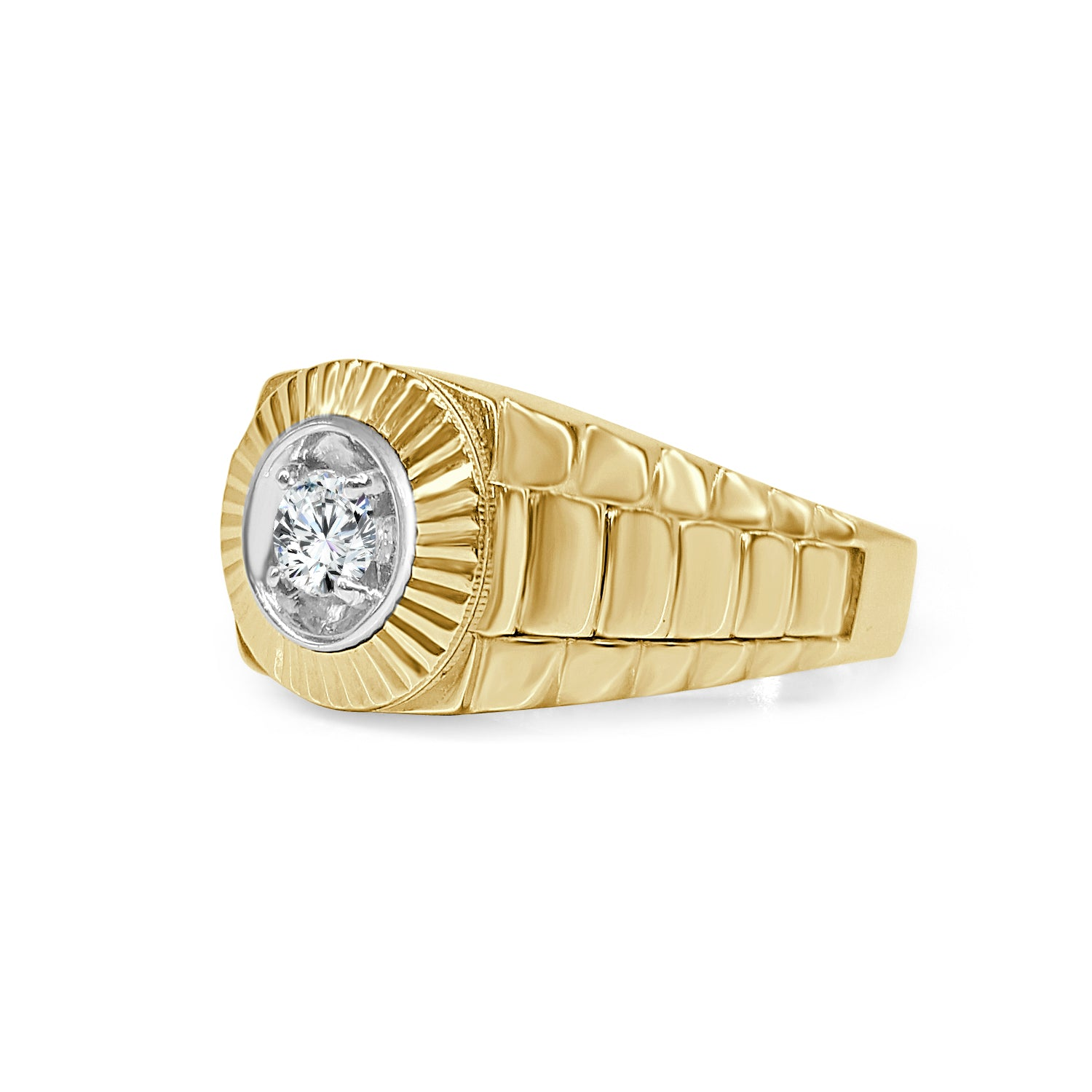 Fancy Yellow Gold Diamond Mens Ring