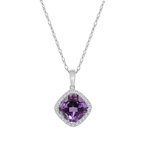 Amethyst And Diamond Cushion Cut Necklace