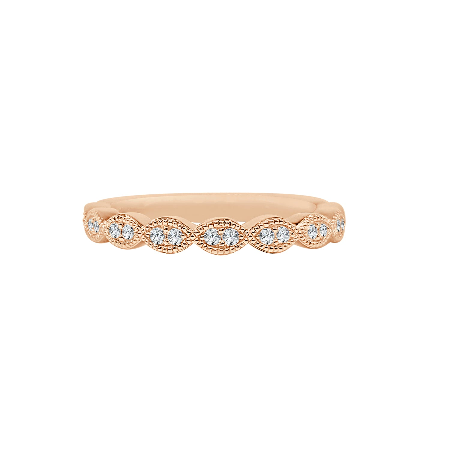 Fana Rose Gold Scalloped Milgrain Band
