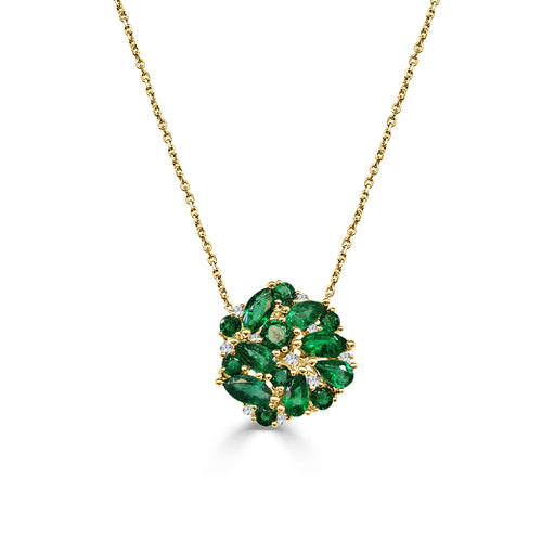 Mixed Shape Emerald And Diamond Necklace