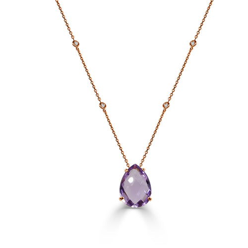 Pear-shaped Amethyst Necklace With Station Diamond Chain
