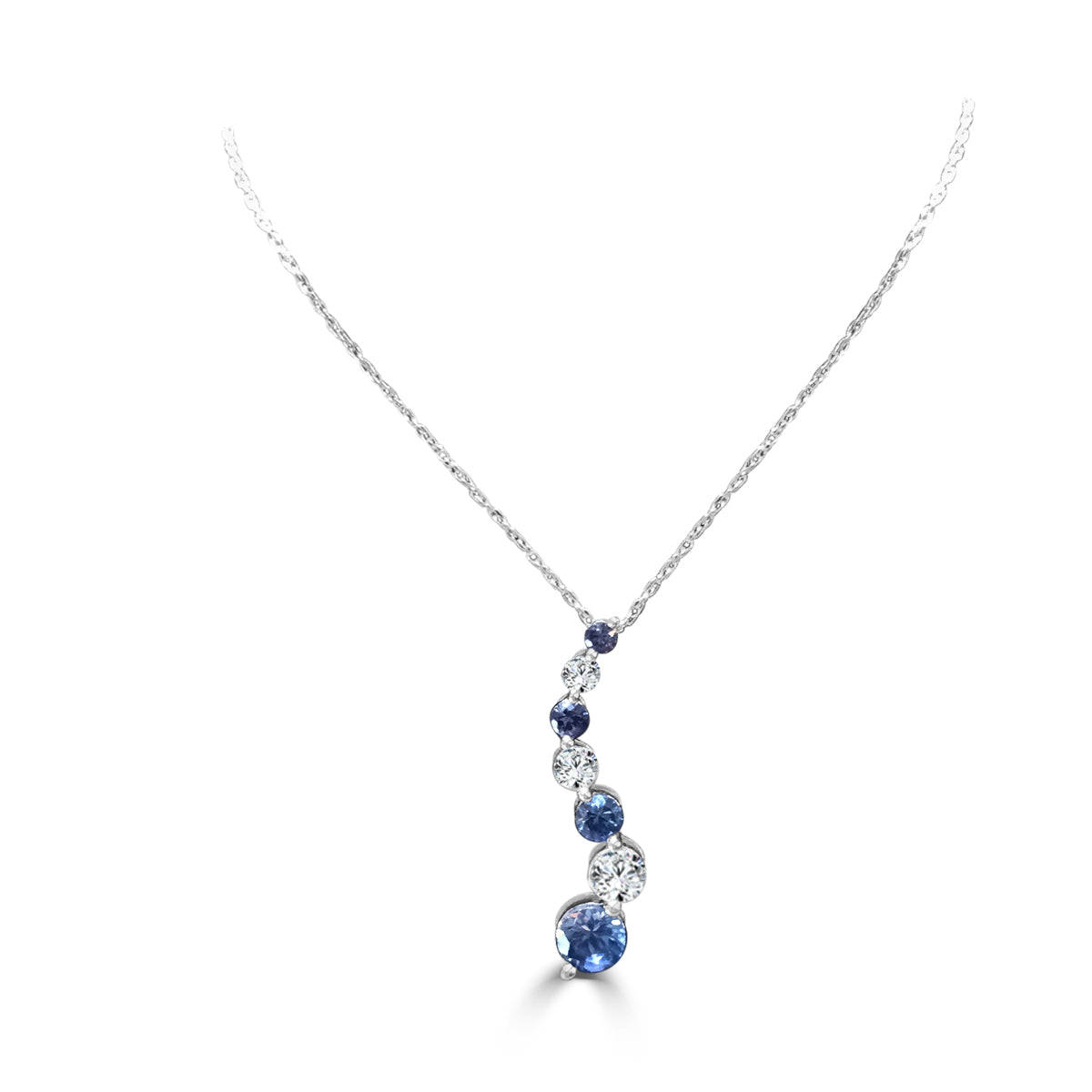 Blue and white sapphire journey necklace aj inc blue and white sapphire journey necklace aloadofball Image collections