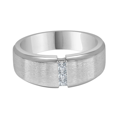 Diamond 3 Stone Satin Finish Gents Ring