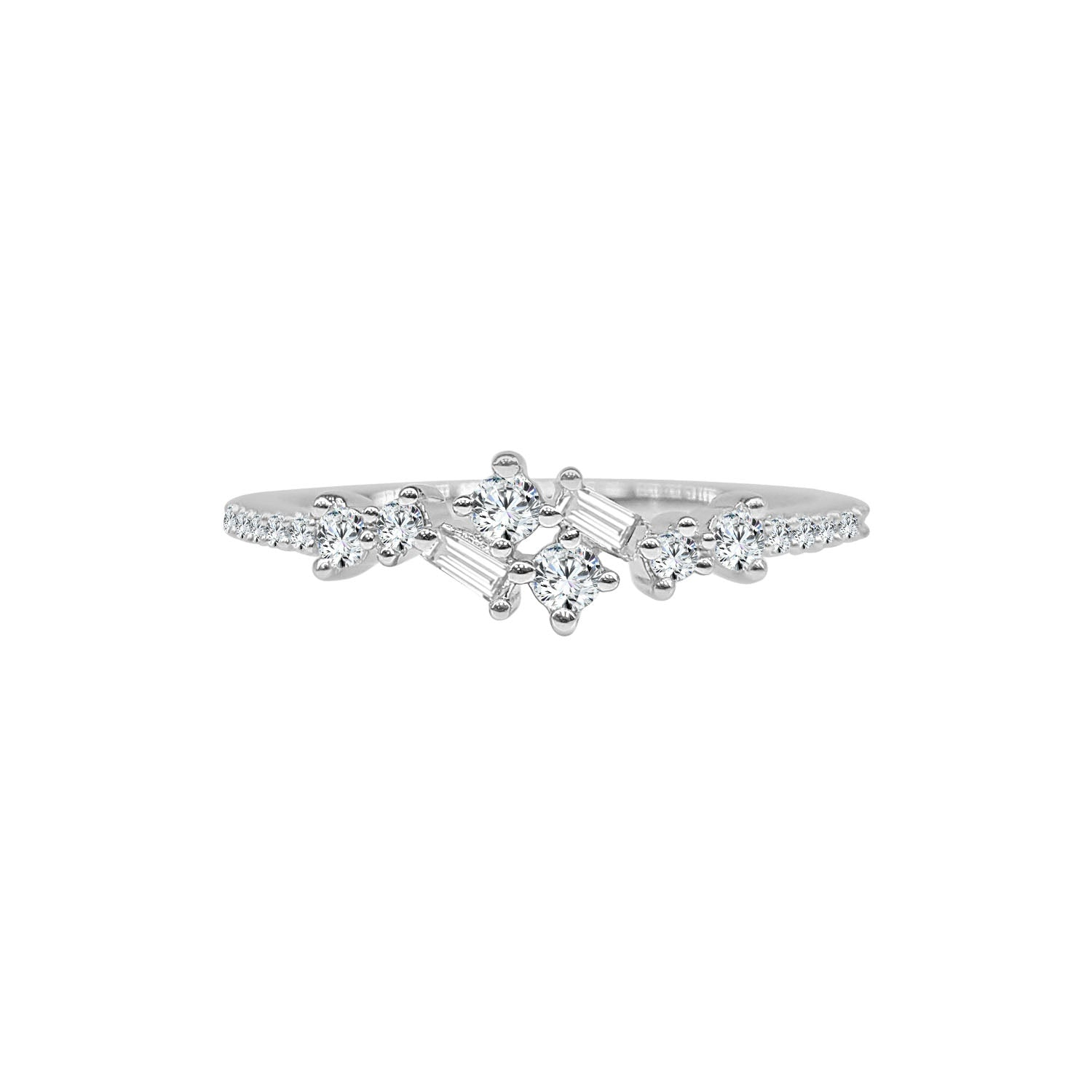 Fancy Round And Baguette Diamond Scatter Ring