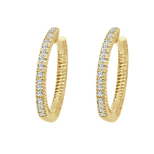 Twisted Edge 0.20 Carat Diamond Hoop Earrings