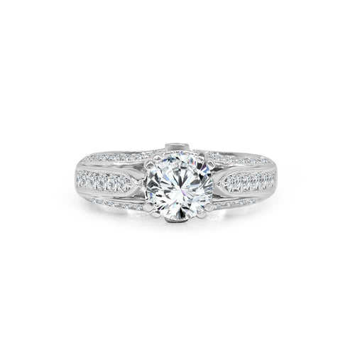 Eight Prong Set Solitaire With Fancy Three Diamond Row Band