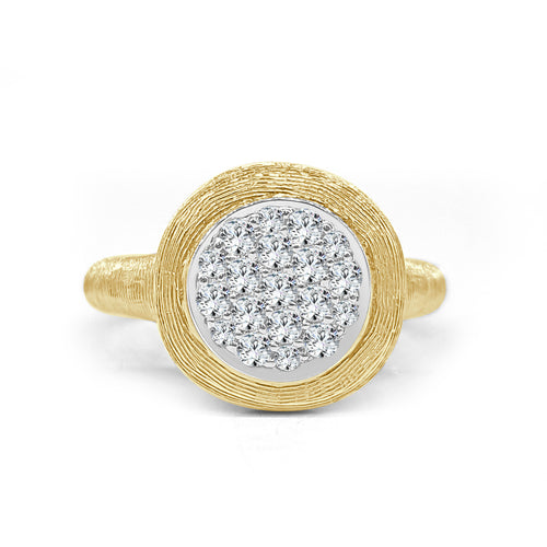 Round Cluster Diamond Fancy Ring In Yellow Gold