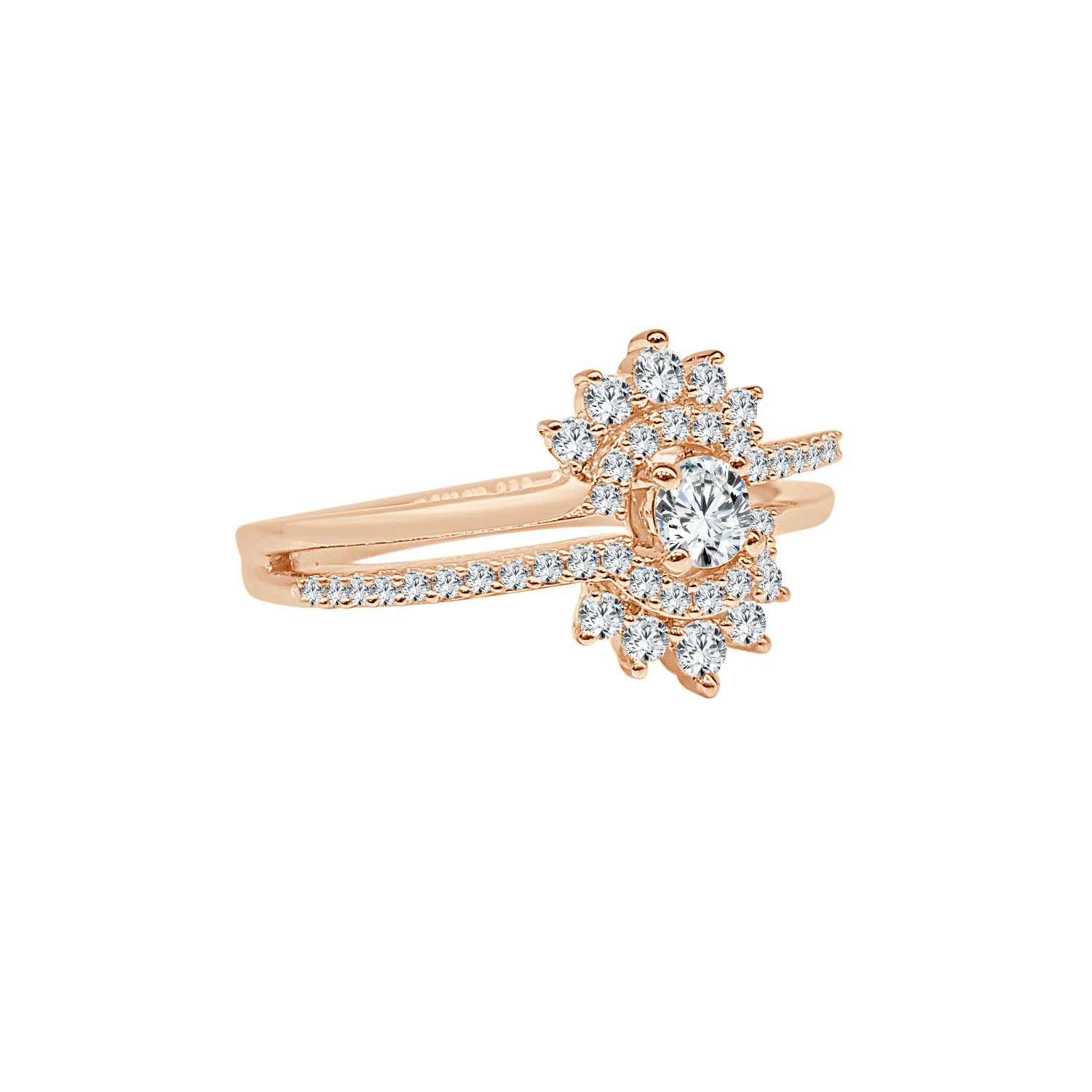 Art Deco Style Diamond Ring In Rose Gold