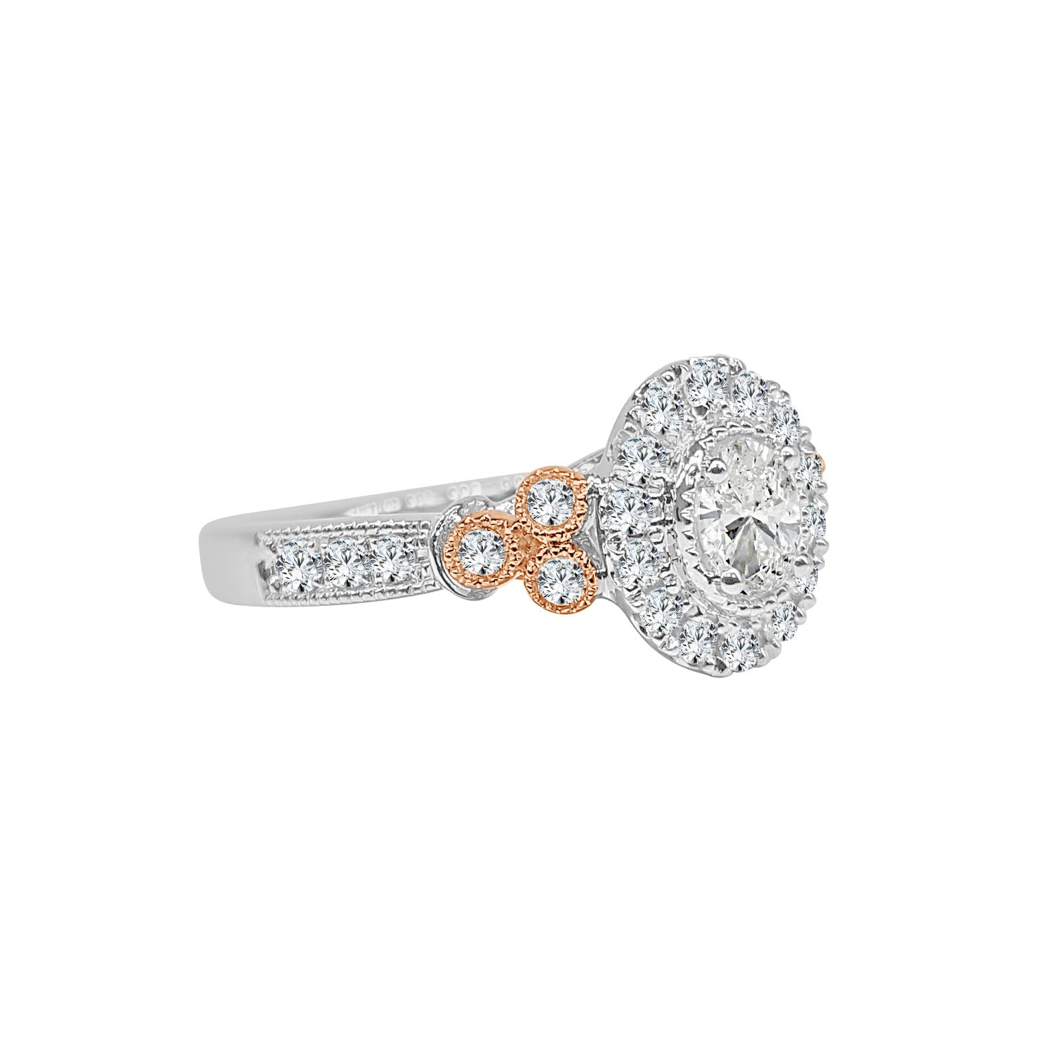 Oval Diamond Ring With Rose Gold Diamond Accents