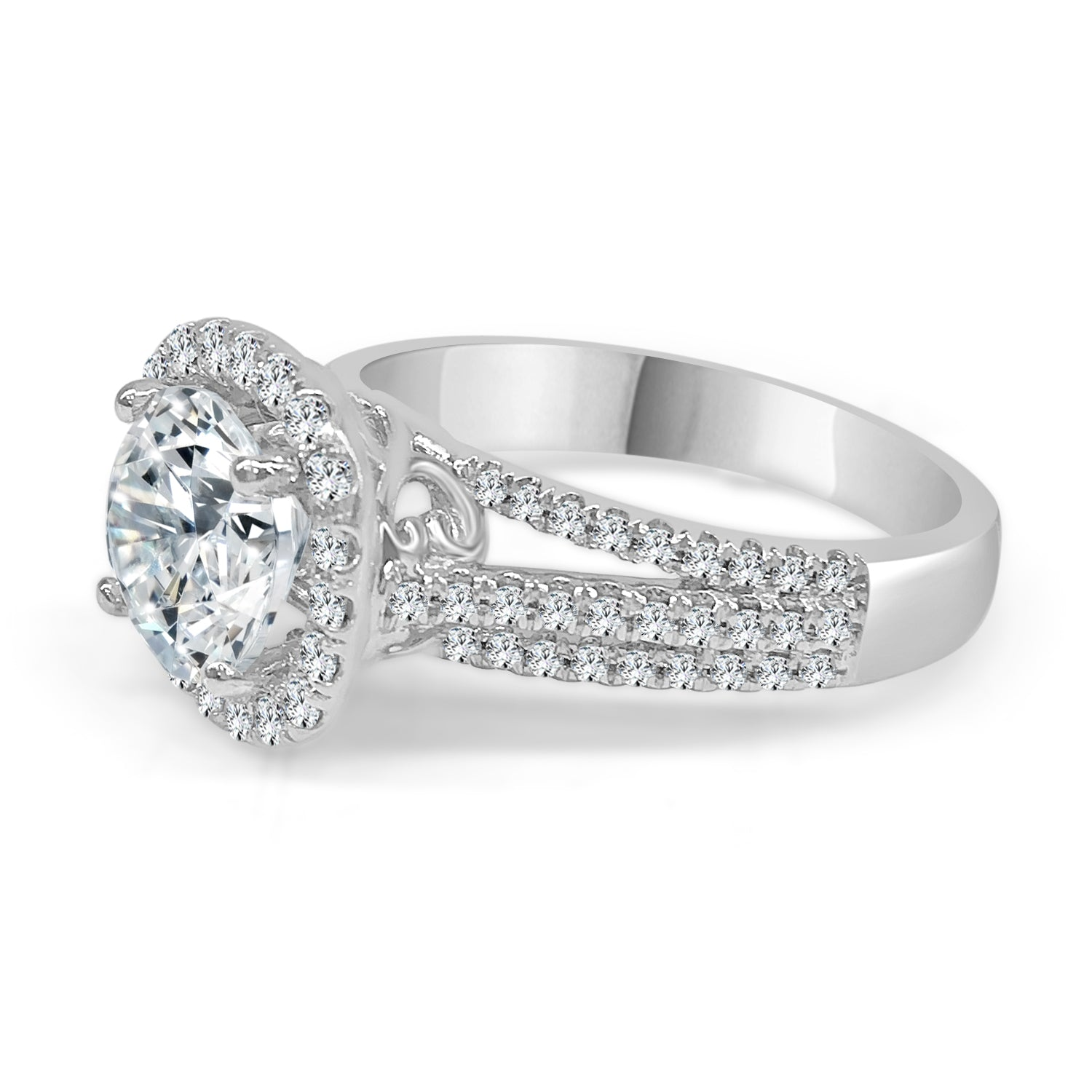 Cushion Halo Ring With Triple Split Band