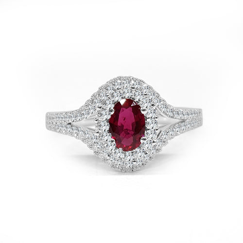Fana Oval Ruby With Halo And Split Band