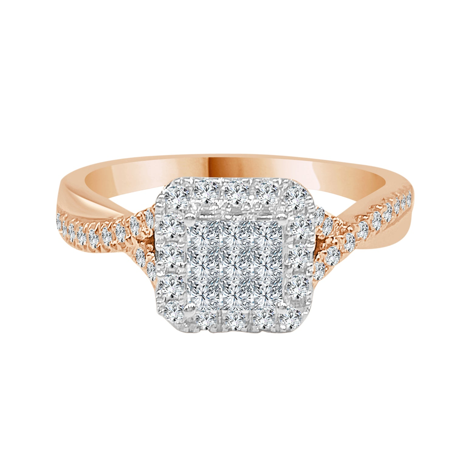 Rose Gold Two-tone Diamond Cluster Halo Top Twist Ring