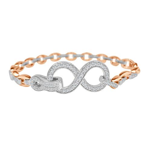 Two-tone Diamond Fancy Link Bracelet With Infinity Clasp
