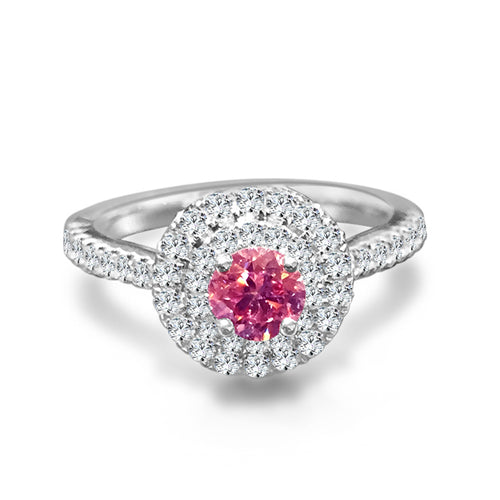 Double Halo Pink Diamond Engagement Ring