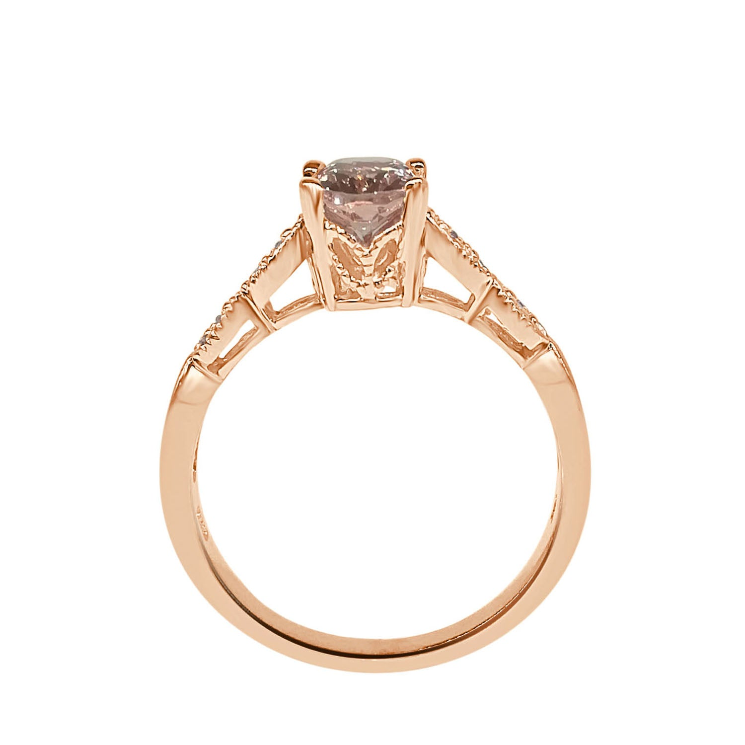 Oval Morganite Ring With Diamond Milgrain Band