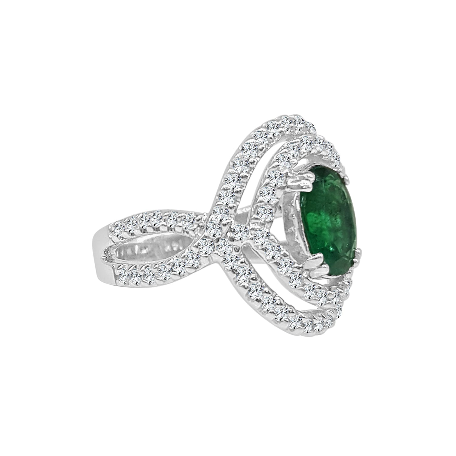 Oval Emerald Ring With Fancy Diamond Double Halo