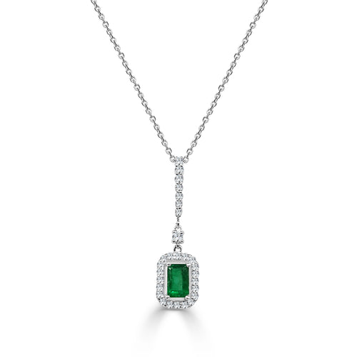 Emerald Necklace With Double Diamond Halo