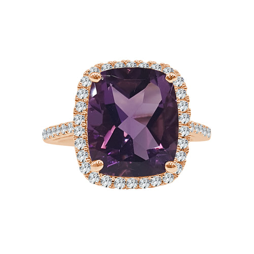 Cushion Shaped Amethyst With Diamond Halo And Band
