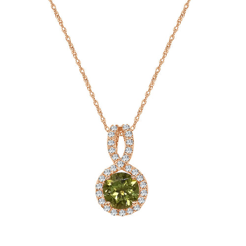 Rose Gold Peridot and Diamond Halo Pendant With Twist Bale and Chain