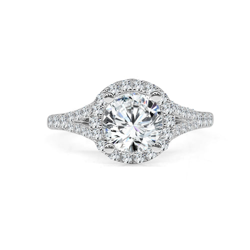 Fana Round Halo With Split Shank Engagement Ring