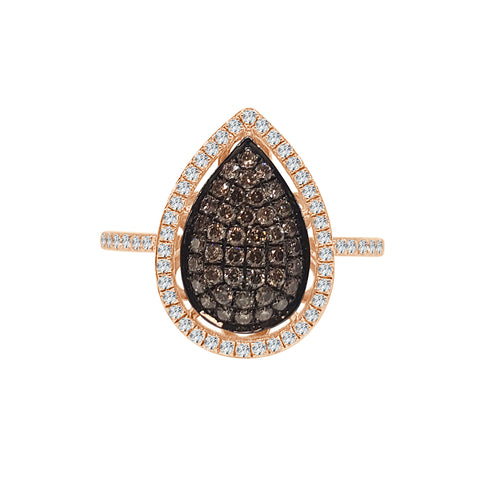 Pear Shaped Brown Pave Diamond Halo Ring