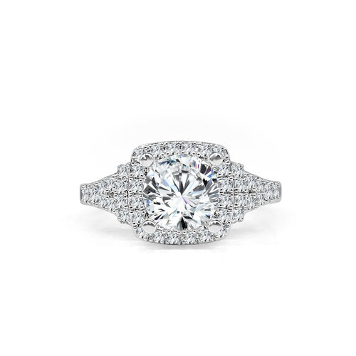 Fana Cushion Halo Engagement Ring With Fancy Diamond Bars