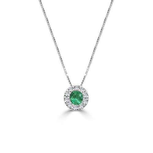 Emerald With Diamond Halo Necklace