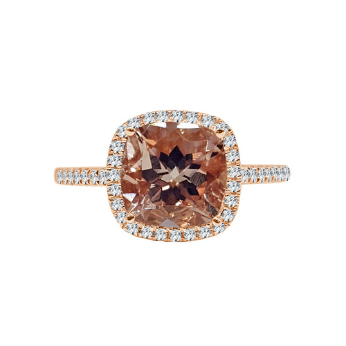 Cushion Cut Morganite With Diamond Halo And Band
