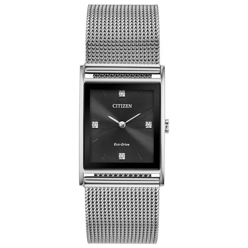 Citizen Mens Ecodrive With Diamonds On Dial And Mesh Band