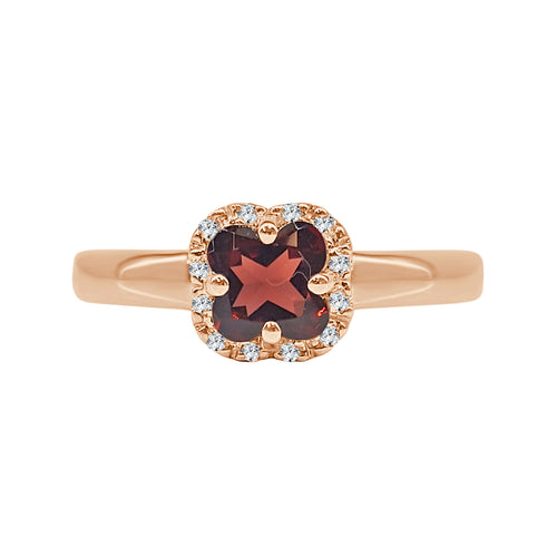 Garnet And Diamond Cushion Cut Ring In Rose Gold